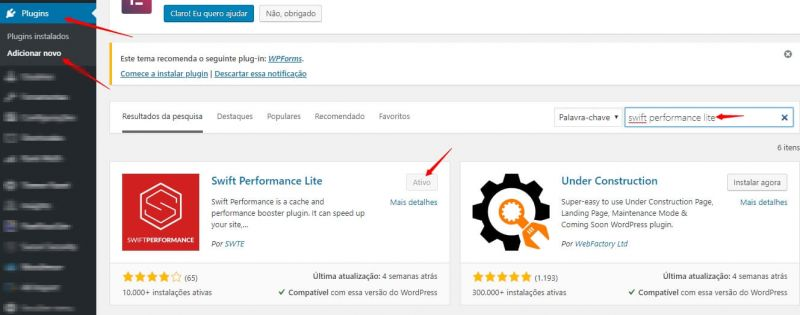 Swift performance - Melhor Plugin de Performance para WordPress 3