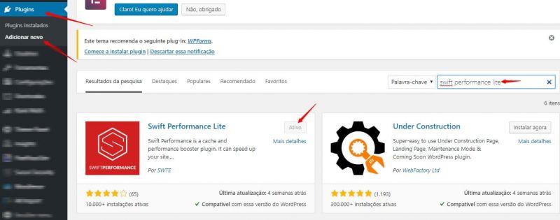 Swift performance - Melhor Plugin de Performance para WordPress 3